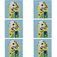 Maxwell & Williams Pete Cromer Cork-Backed Coasters for Drinks / Coaster Set with 'Budgerigar' Design, Ceramic / Cork, Light Blue, 9.5 cm, Set of 6