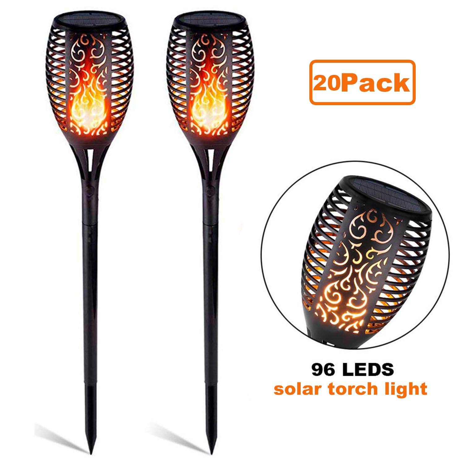 papasbox Solar Lights, 20 PCS Solar Lights Outdoor Flickering Flames Torches Lights Security Landscape Decoration Lighting Dusk to Dawn Auto On/Off for Garden Pathway