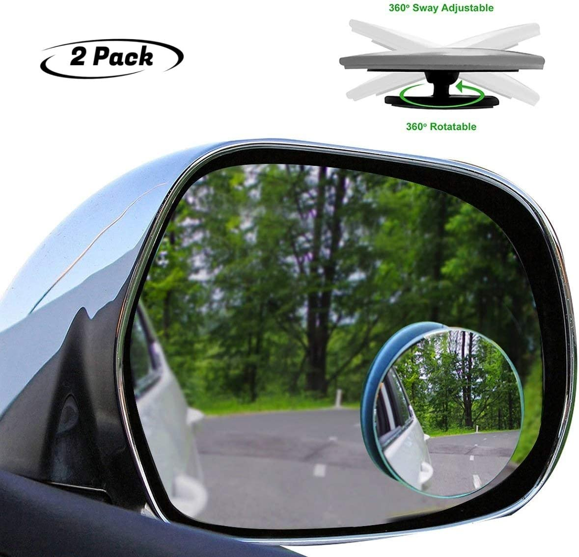 2 HD Glass Slim Wide 360/°Angle Adjustable Stick On Mirror for All Cars YTS Car Blind Spot Mirror,Frameless Convex Rear Side View Mirror,2 HD Glass Slim Wide 360/°Angle Adjustable Stick On Mirror for All Cars SUV Round and Trucks