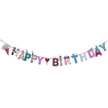 Oblique Unique Happy Birthday Girlande Party Kinder Geburtstag Kinderzimmer Kindergarten Dekoration