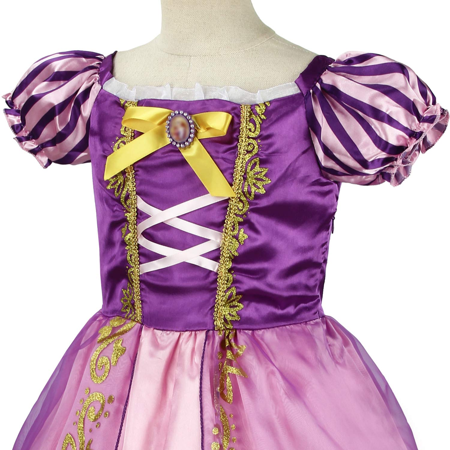 Rapunzel Princess Dress Girls Cosplay Costume Kids Floral Puffy Dresses for Summer Pageant Fancy Dress Up Party Outfits Halloween Christmas Birthday Maxi Carnival Evening