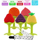 Baby Teething Toys, FDA Approved BPA-Free Soft Silicone Fruit Teether Set with Pacifier Clip/ Holder for Toddlers & Infants, 5 Pack