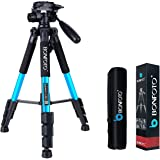 BONFOTO Q111 Camera Tripod 55-inch Compact Lightweight Travel Tripod for YouTube Phone Live Broadcast Live Chat Projector Gopro and DSLR Canon EOS Nikon Sony Samsung (Blue)