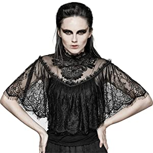 Gothic Women's Lace Shrug Shawl T Shirts Gorgeous Floral Pattern Lace Shirts Short Sleeve Top (M)