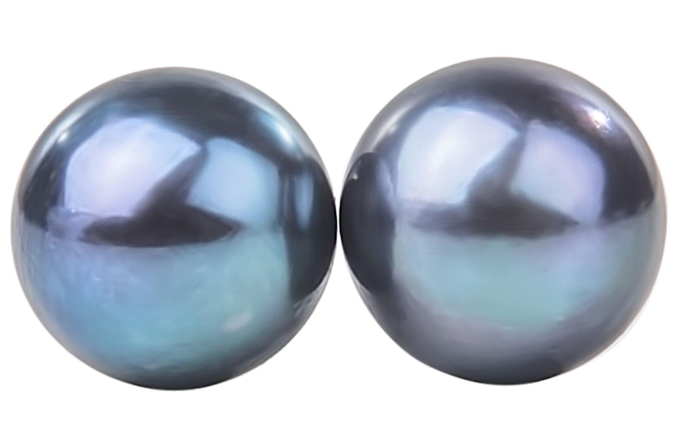 Peacock Blue Freshwater Pearl Stud Earrings Sterling Silver 10mm by Pearl Rack