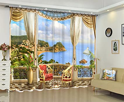 Nature Scenery Decor Curtains By LB,Tropical Custom Sea View Window 3D  Printing Window Treatment