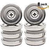 Aitsite Pot Aimants 8 Packs N52 Base Forte Néodyme Foret Aimant Aimants Crochets Magnétiques 1,26 Pouce Force de Maintien 65 LBS avec Vis de Montage