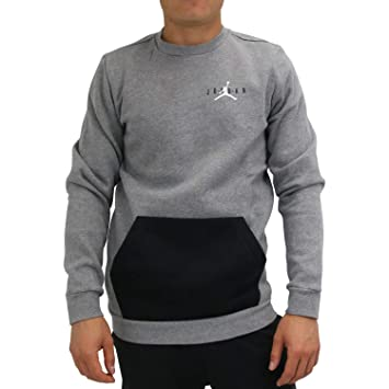 e709850b0a85 Nike Herren Pullover Jumpman Air Fleece Crew, Grau (Carbon  Heather Black White