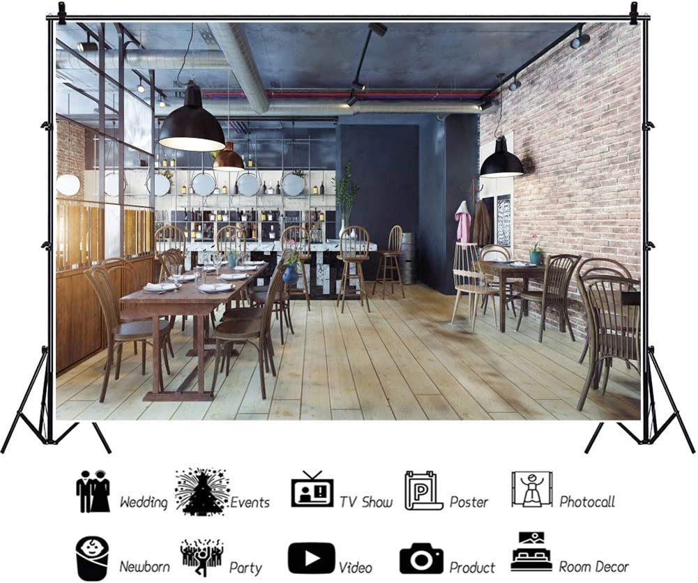 YEELE Modern Restaurant Interior Backdrop 12x8ft Bright Bar Eatery Lounge Photography Background Shool Party Decoration Kids Adults Portrait Photoshoot Props Digital Wallpaper