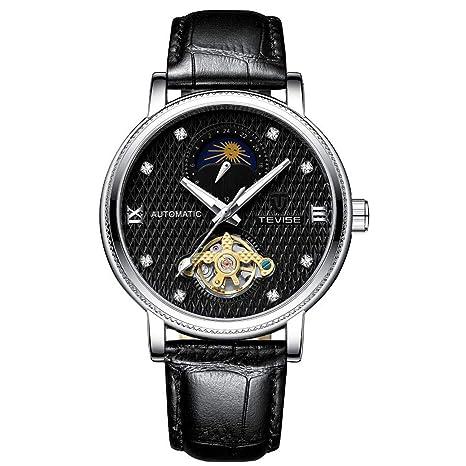 TEVISE Reloj para Hombre Reloj mecánico automático Impermeable Reloj Luminoso con Banda de Cuero para Hombres