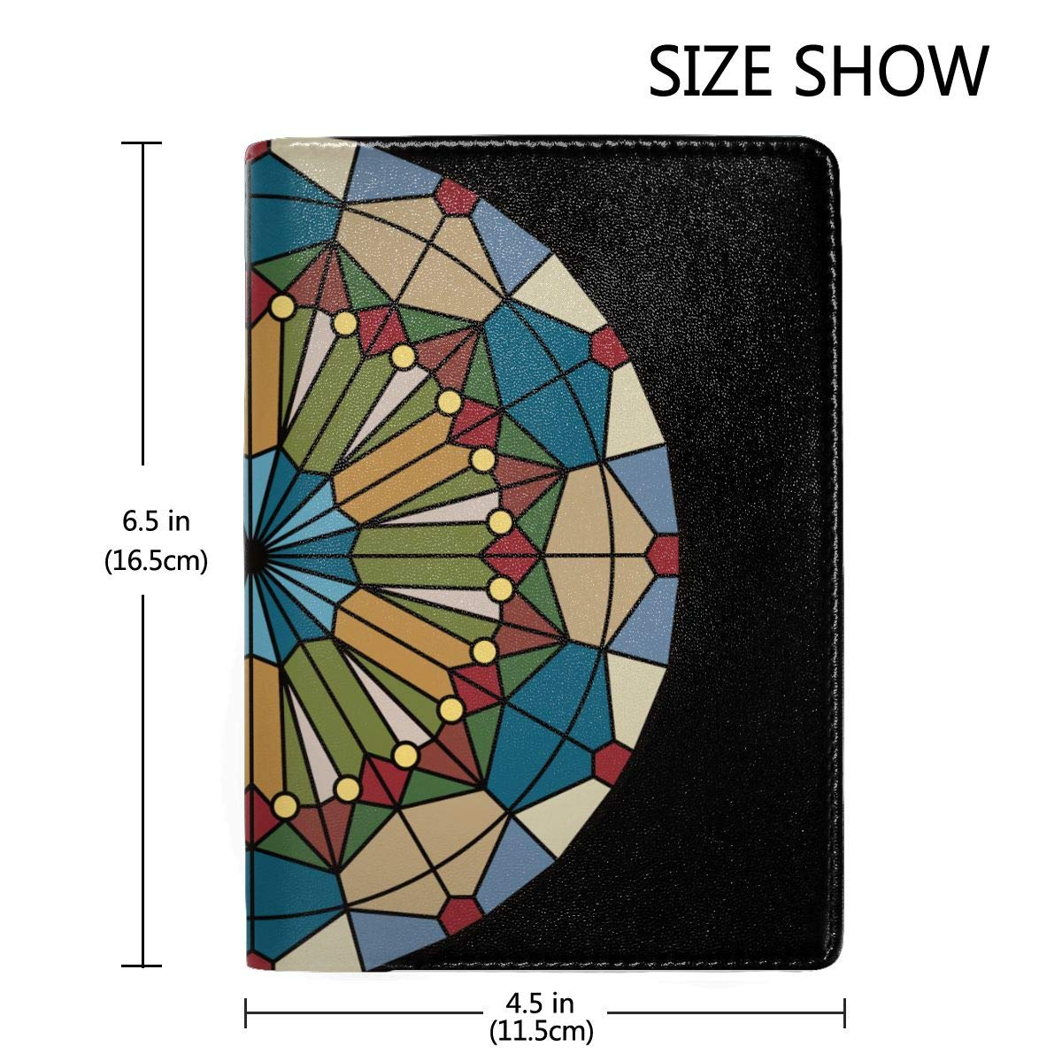 Stained Glass Clip Art Mosaic Fashion Leather Passport Holder Cover Case Travel Wallet 6.5 In
