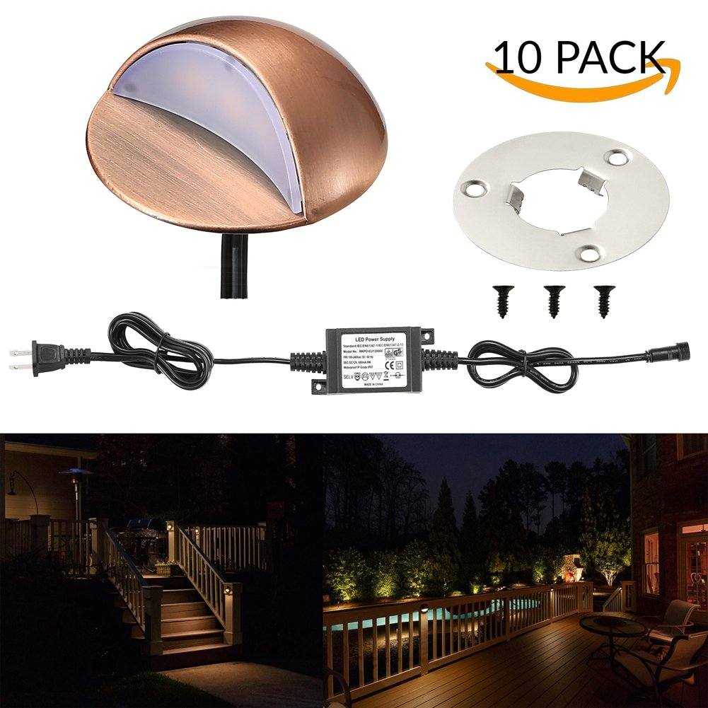 LED Deck Lights Kit, FVTLED Pack of 10 Low Voltage LED Step Stair Lights Φ1.97'' Outdoor Garden Yard Decoration Lamp Recessed Landscape Pathway Step Stair Warm White LED Lighting, Bronze by FVTLED