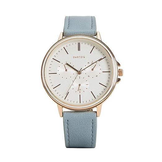 Parfois - Reloj Casual Rose Gold Tray - Mujeres - Tallas Única - Azul Claro: Amazon.es: Relojes