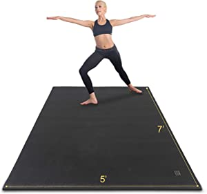 Gxmmat Large Yoga Mat Non-Slip 7'x5'x9mm,Thick Workout Mats for Home Gym Flooring,Extra Wide Exercise Mat for Men and Women Without Shoes, Non-Toxic MemoryFoam, Comfortable for Stretching, Cardio
