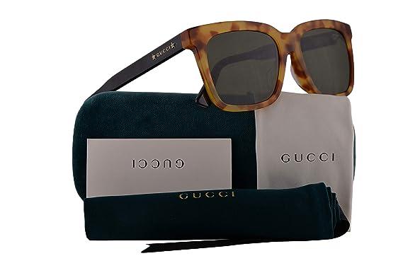 4968d051c49c9f Amazon.com: Gucci GG0267SA Sunglasses Havana Black w/Green Lens 55mm ...