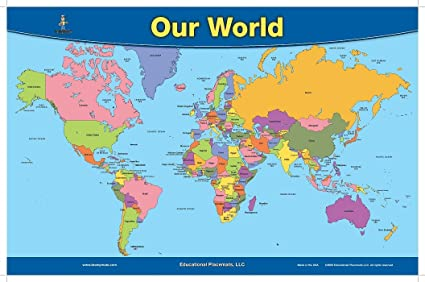 Amazon.com: Brainymats World Map Placemat (Revised 2012): Home