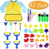 Kids Early Learning Sponge Painting Brushes Kit, 42 Pieces Sponge Drawing Shapes Paint Craft Brushes for Toddlers Assorted Pattern, Including Children Waterproof Art Painting Smock Apron-H
