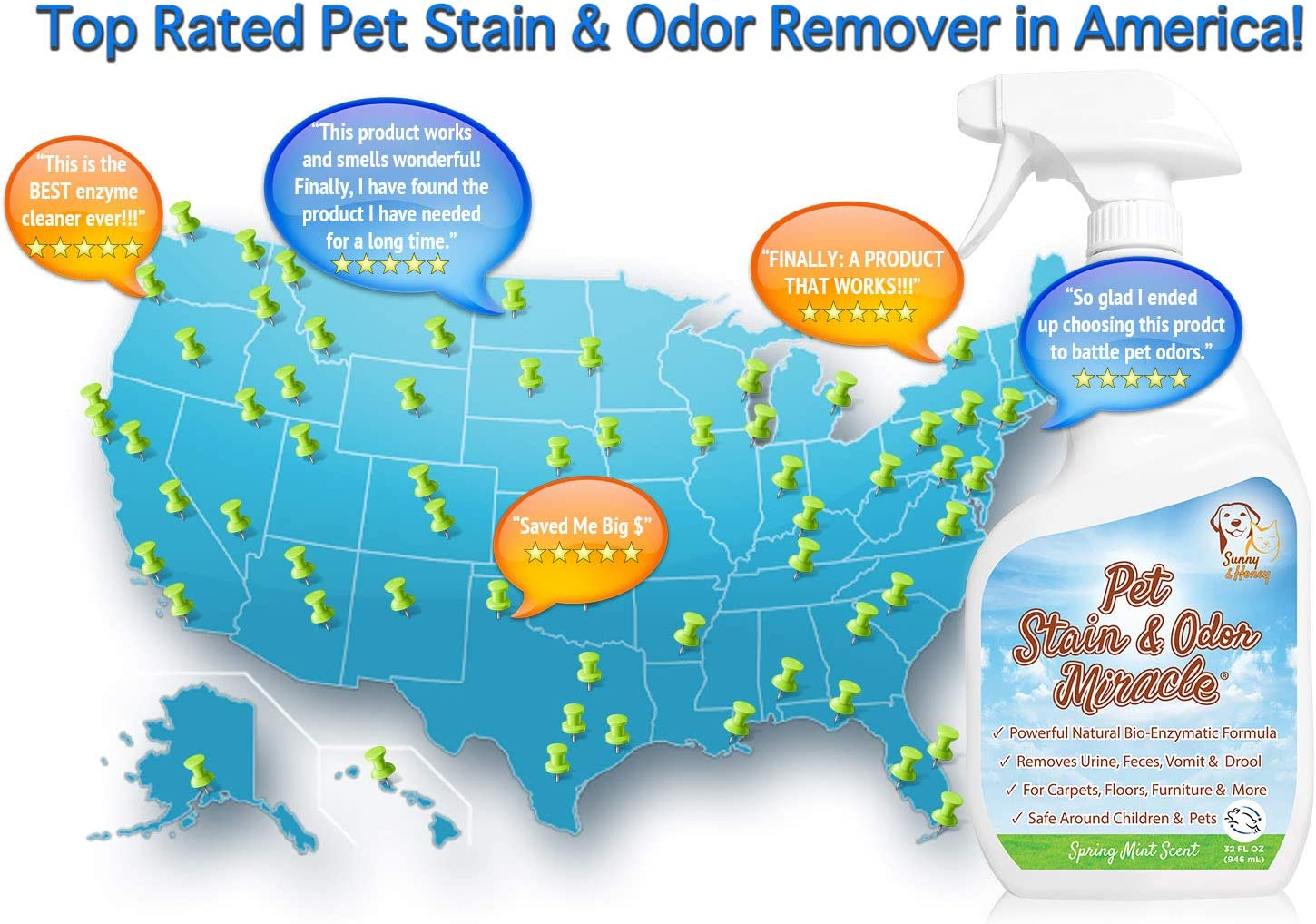 Pet Stain & Odor Miracle - The Best Enzyme Cleaner for Dog Urine Cat Pee Feces Vomit, Enzymatic Solution Cleans Carpet Rug Car Upholstery Couch Mattress Furniture, Natural Eliminator (S/M 32FL OZ): Kitchen & Dining