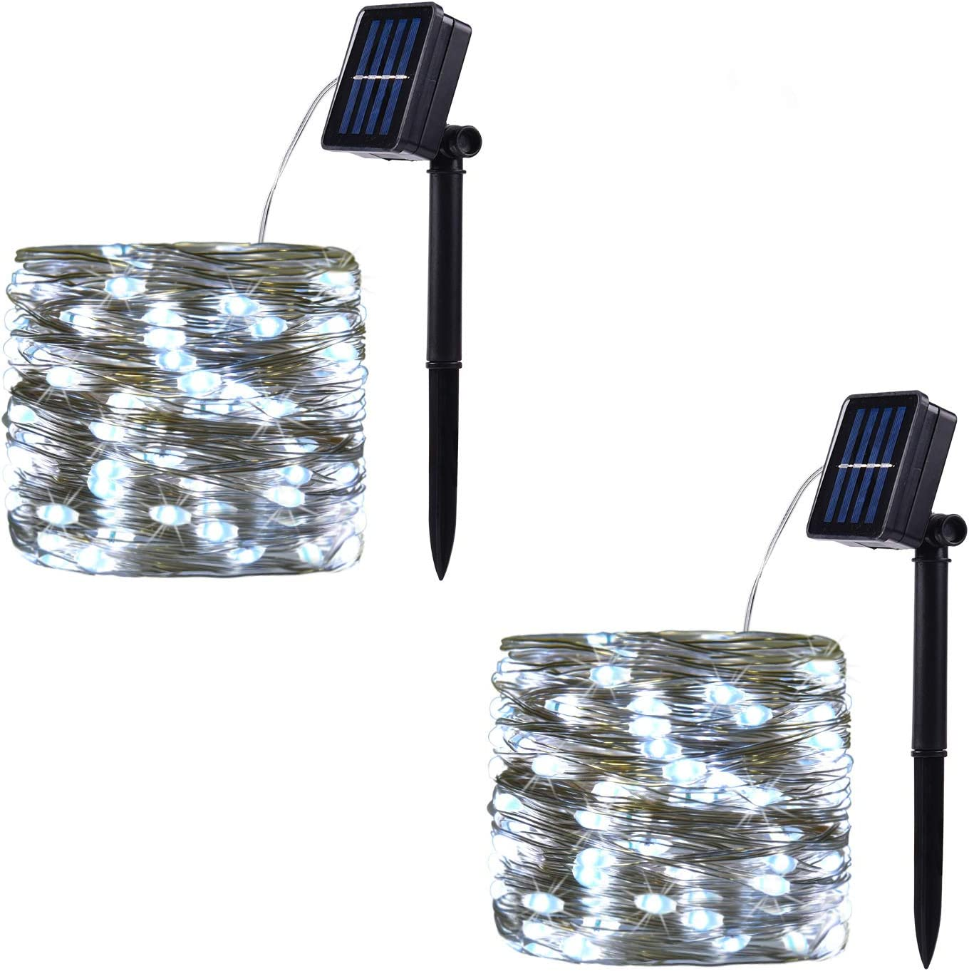 2 Pack 100 LED Solar Powered String Lights, Outdoor Waterproof Copper Wire 8 Modes Fairy Lights for Garden, Patio, Wedding, Party, Christmas, Home (White)