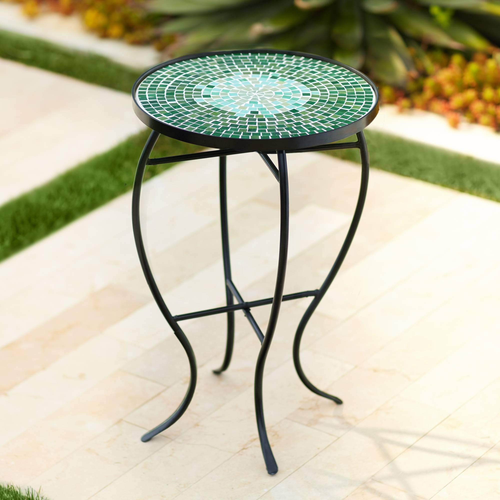 Teal Island Designs Bella Green Mosaic Outdoor Accent Table by Teal Island Designs