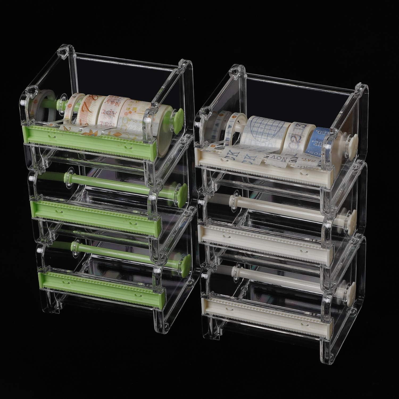 ZOENHOU 6 Pack 4.1 x 3.6 x 2.8 Inch Washi Tape Dispenser, Tape Cutting Machine, Transparent Roll Tape Holder Desktop Tape Organizer DIY Sticker Cutter Storage Box (no Tapes)