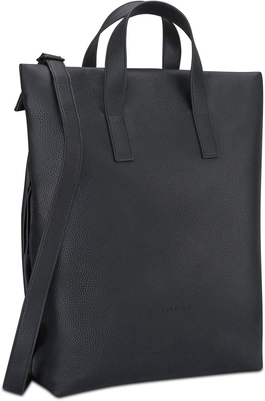 Backpack Womens Black Expatri/é Vegan Leather Crossbody Messenger Shoulder Bag