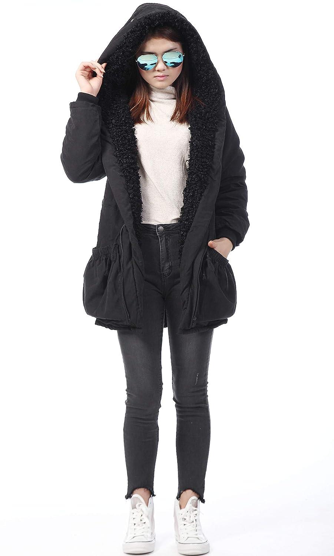 Roiii femmes épaississent le chaud capuche manteau d'hiver Parka Pardessus Veste longue Outwear Black Fleece Fur