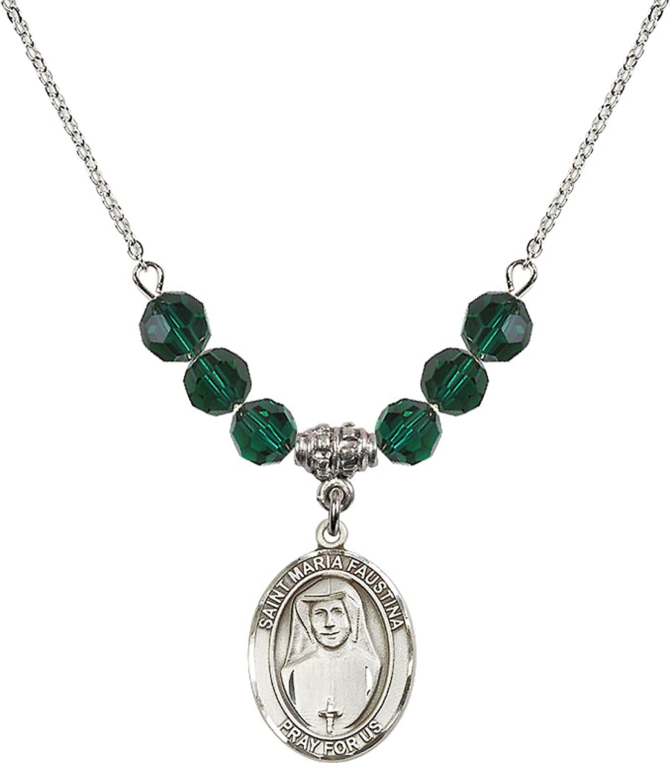 Bonyak Jewelry 18 Inch Rhodium Plated Necklace w// 6mm Green May Birth Month Stone Beads and Saint Maria Faustina Charm