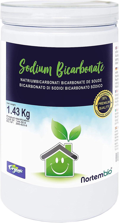 NortemBio Bicarbonato de Sodio 1.43 Kg, Insumo Ecológico de Origen Natural, Libre de Aluminio, EBook Incluido.