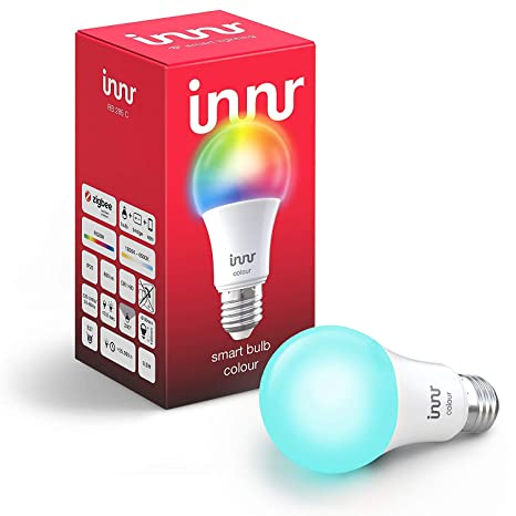 5b9736b0bc7d Innr E27 Smart LED Lampe, Color, dimmbar, RGBW, kompatibel mit Philips Hue*  & Echo Plus (RB 285C)