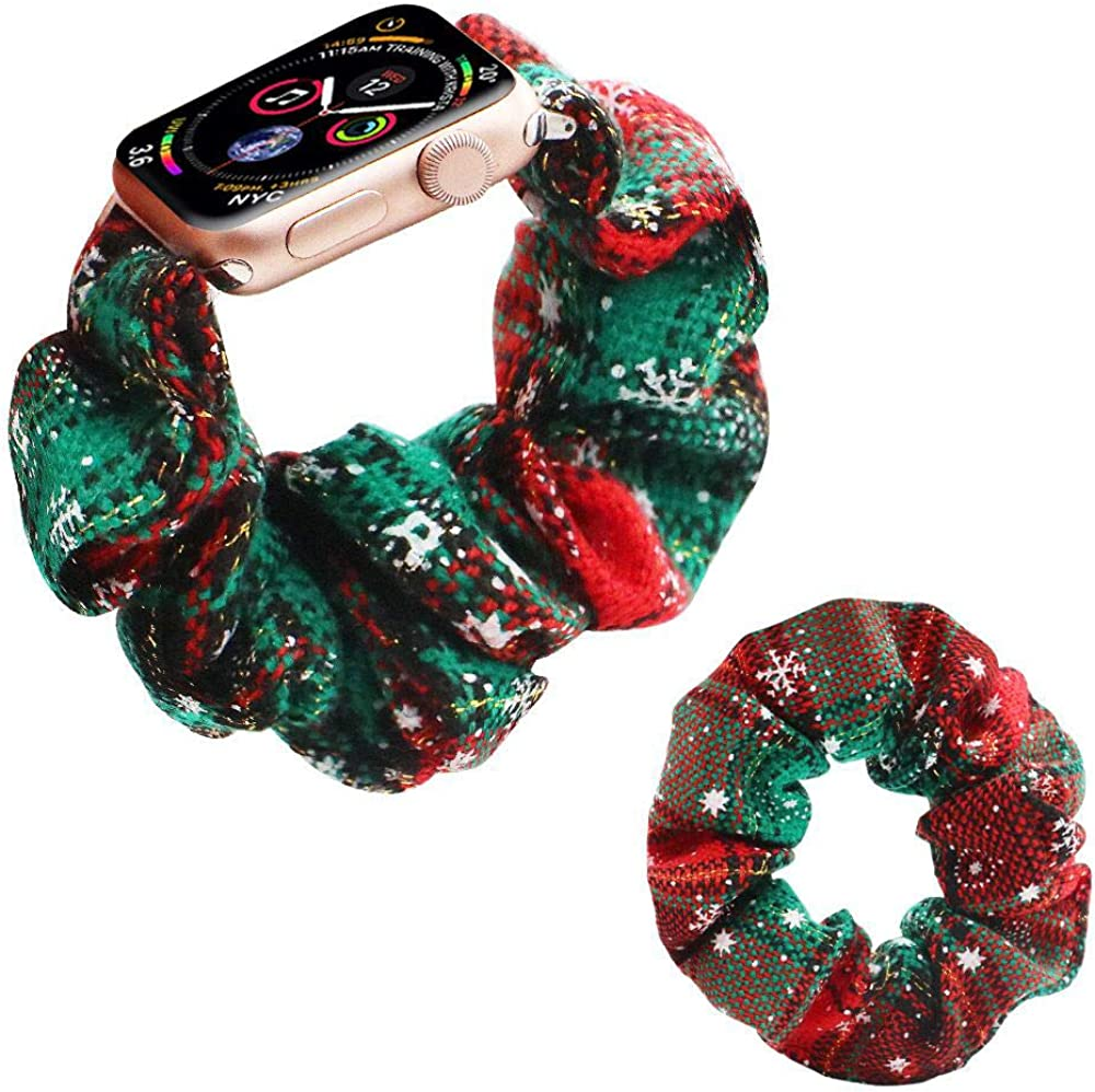 Band Scrunchies Compatible with Apple Watch Band 38mm 40mm/42mm 44mm,Replacement for iWatch Series 5/4/3/2/1 Women Girls [Headband Scrunchy Included]