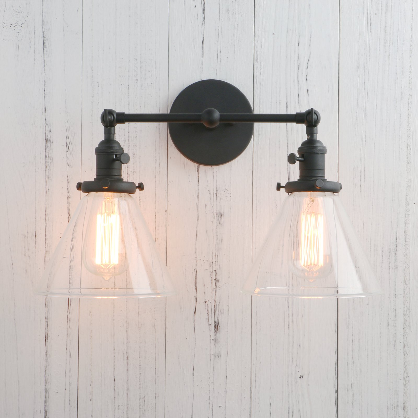 Permo Double Sconce Vintage Industrial Antique 2-lights Wall Sconces with Funnel Flared Glass Clear Glass Shade (Black)
