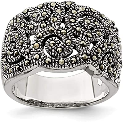 Classic 925 Silver and Marcasite Band Ring