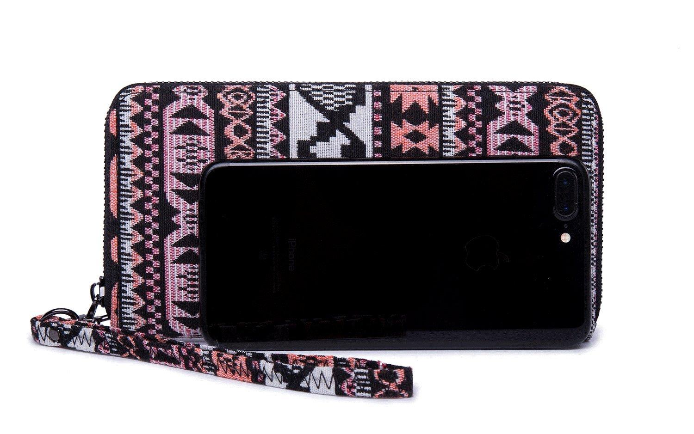 LIKEWE Women Pink Stripe Wallet Zip Around Clutch Wallet Large Travel Purse (FB-TT-168) by LIKEWE (Image #3)