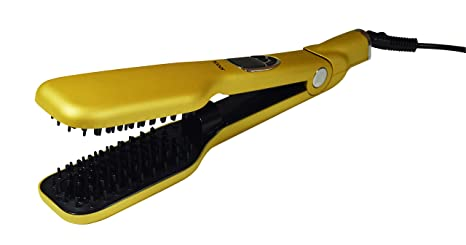 JOCCA Cepillo de pelo alisado de Peine Plancha de pelo doble placa, Golden vapor