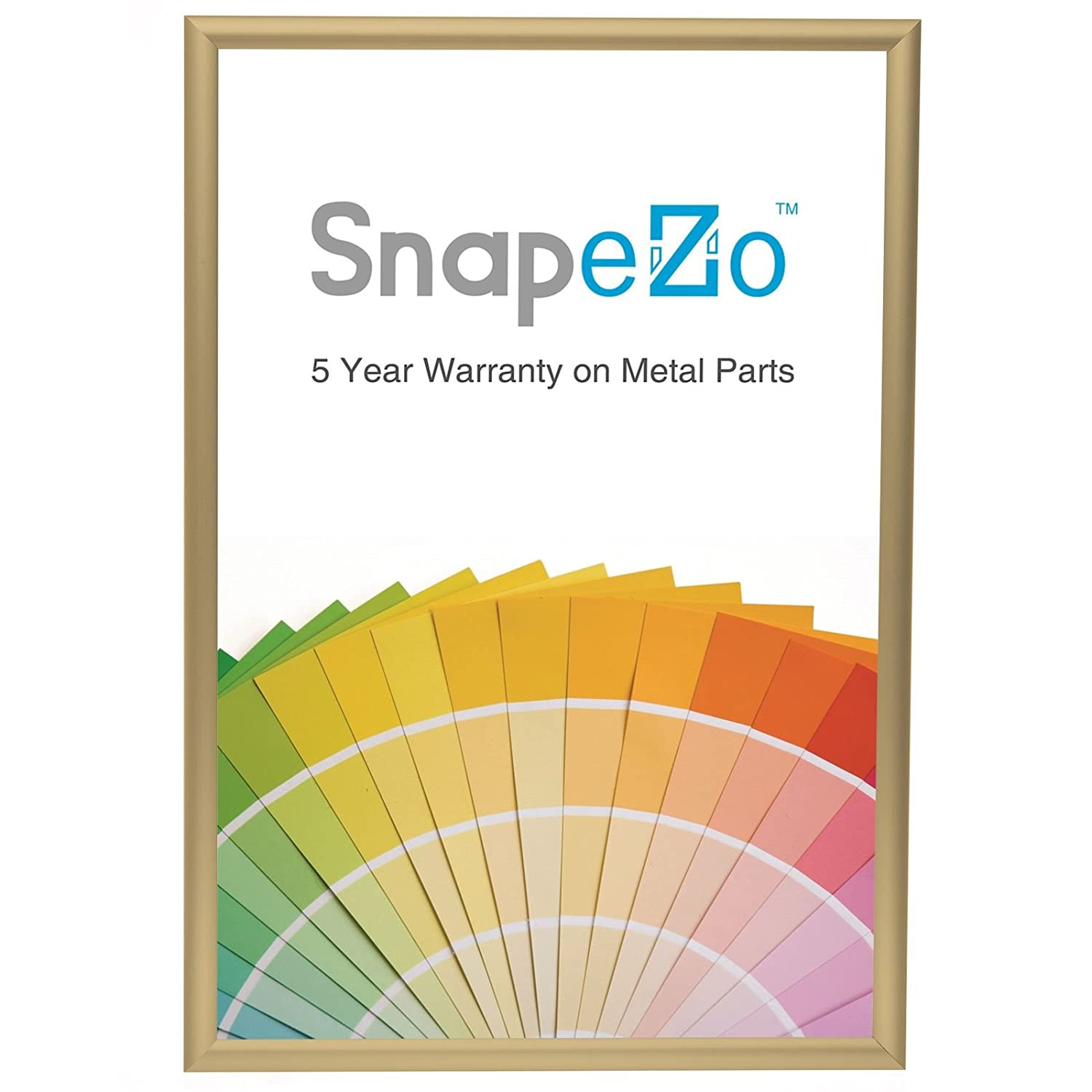 """SnapeZo Poster Frame 18x24 Inch, Gold 1"""" Aluminum Profile, Front-Loading Snap Frame, Wall Mounting, Sleek Series"""