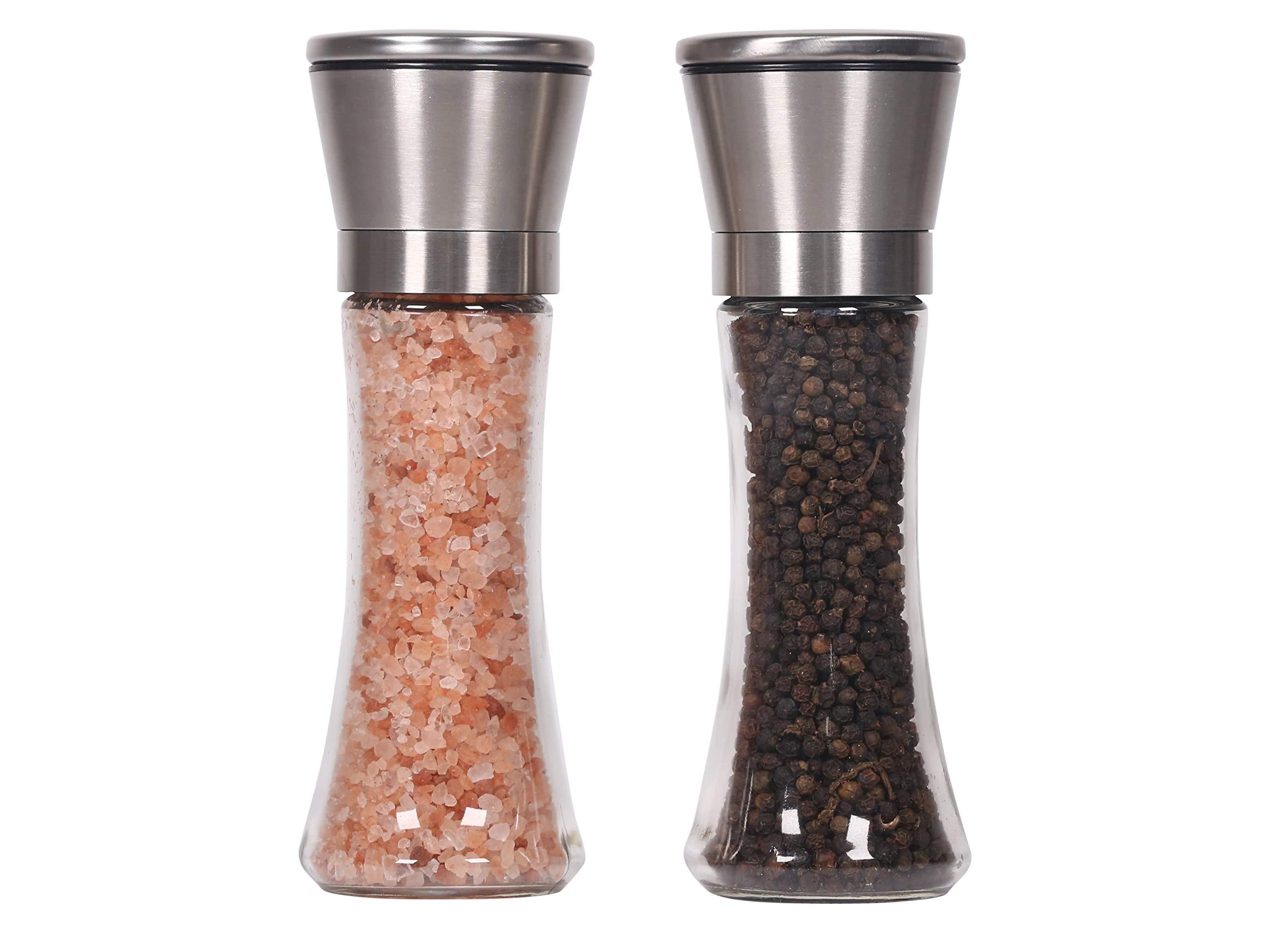 Luxurious Stainless Steel Salt and Pepper Grinder Set of 2 - Adjustable Ceramic Sea Salt Grinder & Pepper Grinder - Tall Glass Salt and Pepper Shakers - Decorative Impressive on Table