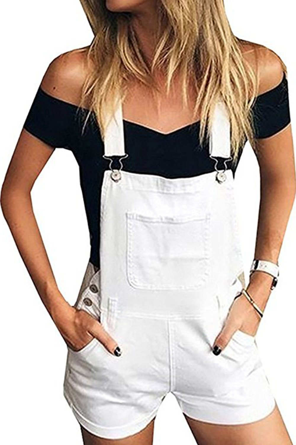 Meilidress Womens Distressed Ripped Denim Overall Shorts (Small, White)