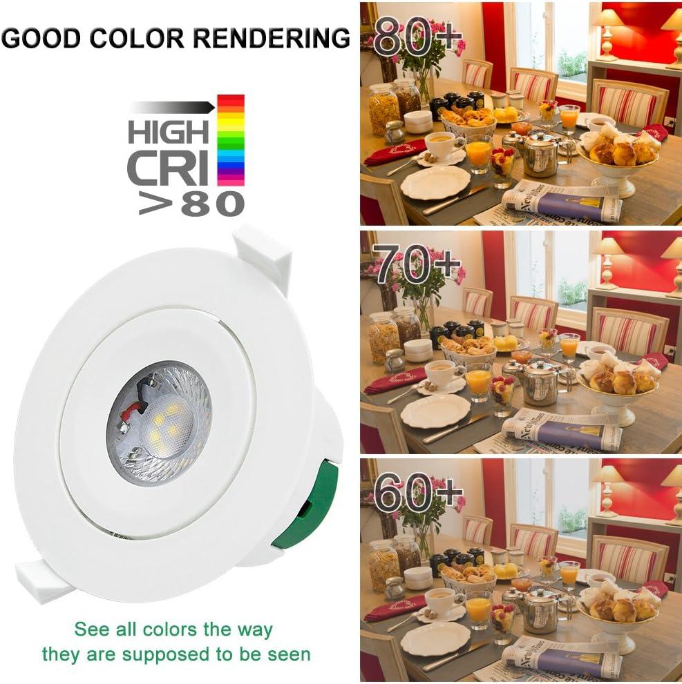 Lampes Spot a LED Encastrable Plafond LED 9W 800Lm Orientable 220V Blanc Chaud 3000K Trou de Plafond 85-90MM Direction Eclairage R/églable Lot de 3 de Enuotek