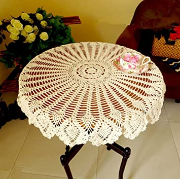 Diaidi Handmade Crochet Doilies, Round Tablecloths, Cotton Hollow Decorative  Table Cover, American Country