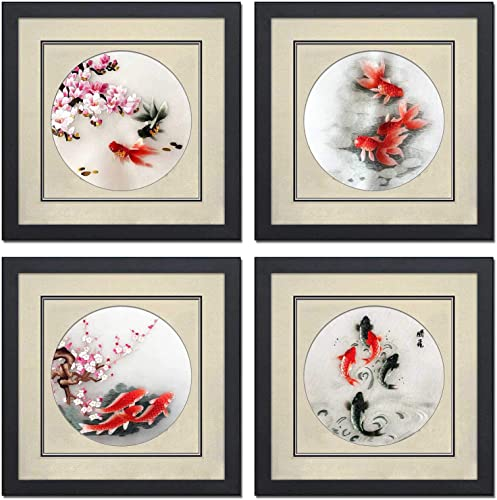 King Silk Art 100 Handmade Embroidery Mixed Group 4 Sets Framed Red Koi Oriental Fish Wall Hanging Art Asian Decoration Tapestry Artwork Picture Gifts