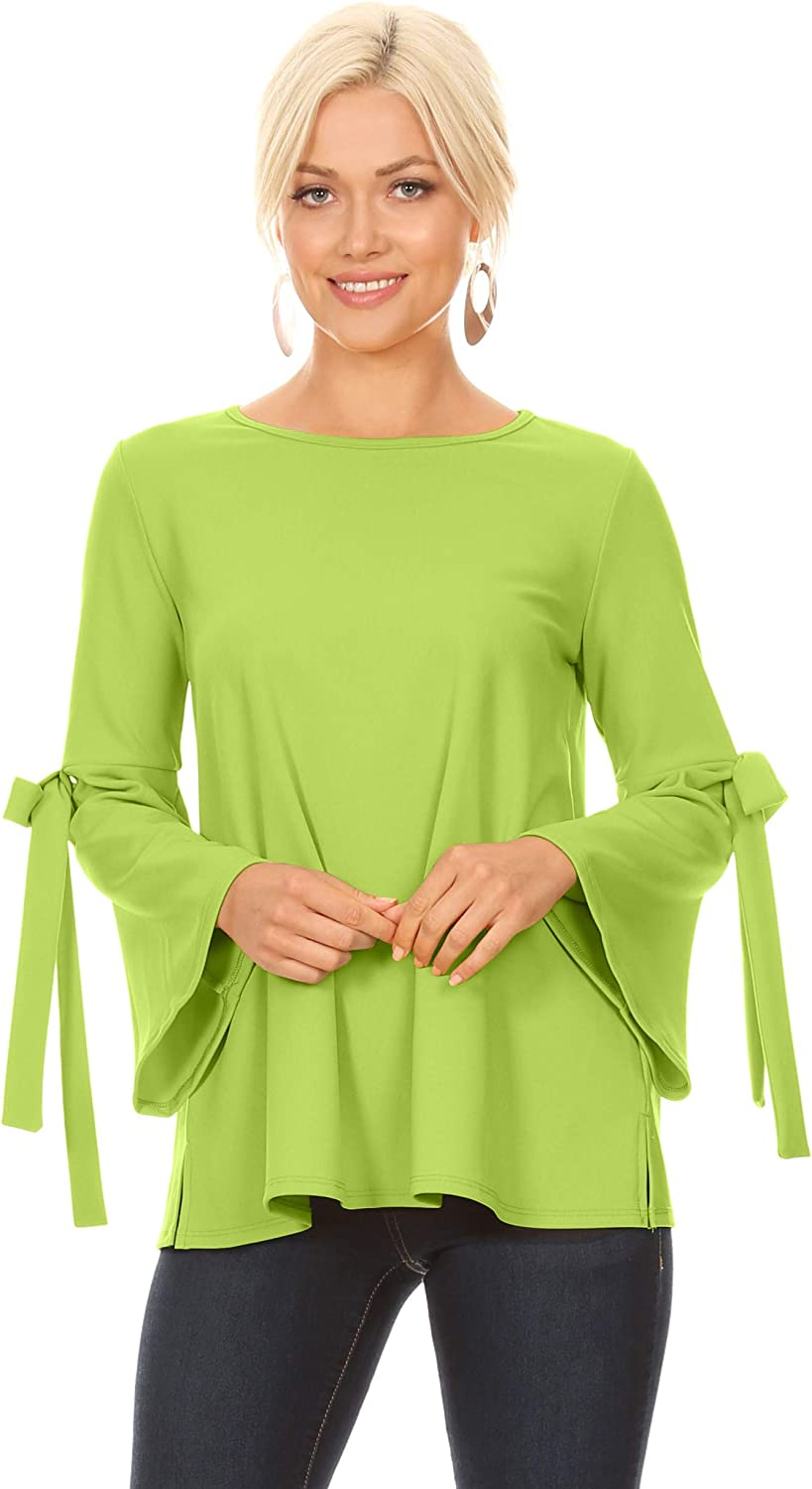 Flowy Dressy Tops for Women with Bow Sleeves Reg and Plus Size
