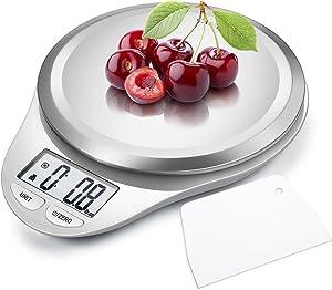 Balance de Cuisine Electronique Haute précision- Balance Alimentaire Numérique - Plateau Acier Inoxydable - Écran LCD - 5kg -Haute - Fonction Tare Automatique, Arrêt Automatique(Blanc)