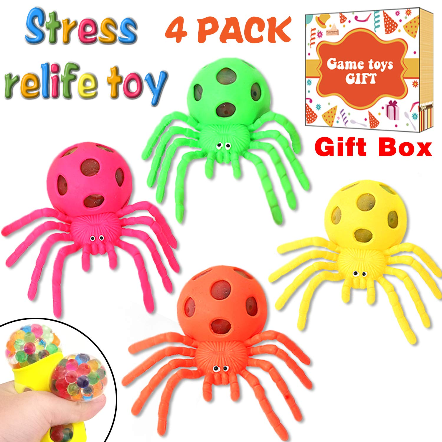 4 Pack Stress Relief Balls - Sensory Stress Balls for Kids Boys Girls Adults ADHD ADD Fidget Autistic Toys Anti-Stress Stress Relief Squeeze Anxiety Hand Therapy Balls Outdoor lndoor Office School