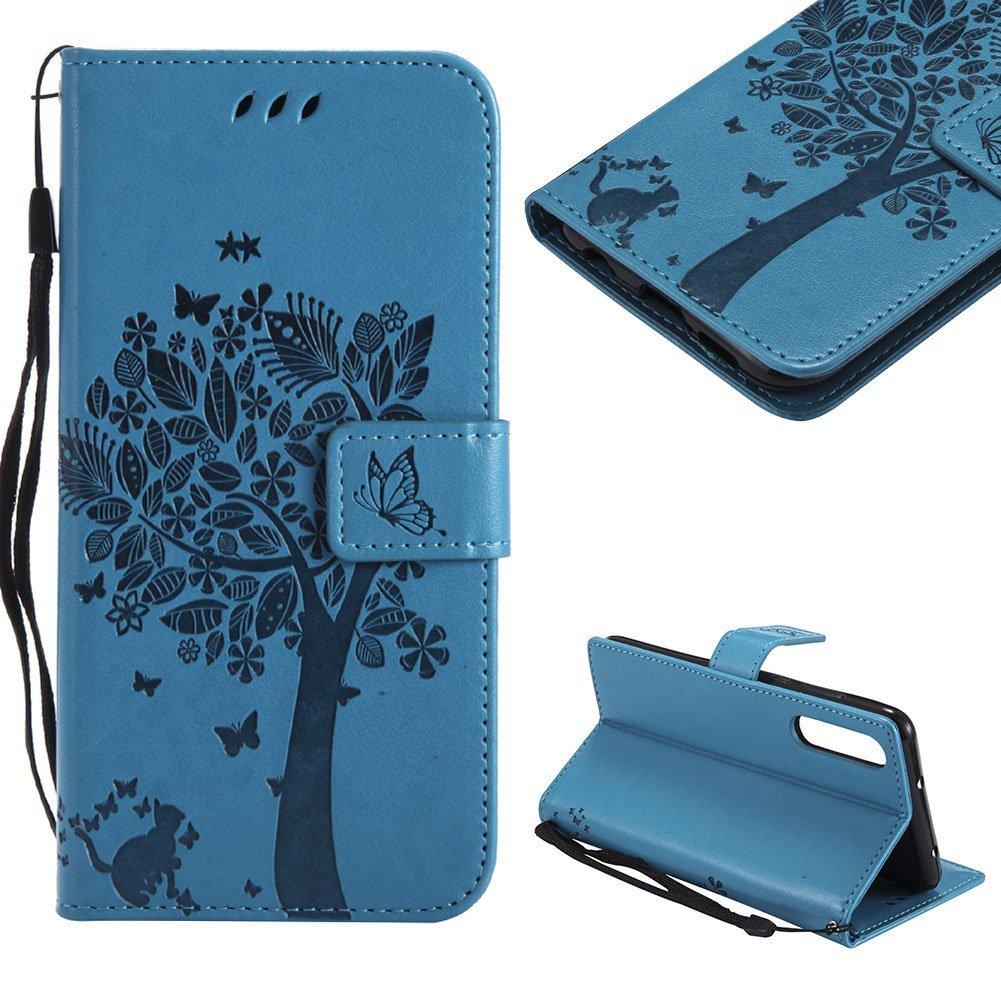 CESTOR Brieftasche Hü lle fü r Huawei P20 Pro, Premium Lila Retro Katzen und Baum Muster mit Faltbar Stand und Halter Kreditkarte Slots Magnetverschluss Flip Cover fü r Huawei P20 Pro