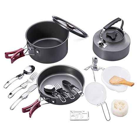 outdoor kitchen supplies high end hotwolf camping cookware mess kit 18pcs leisure backpacking gear portable outdoor cooking equipment hiking picnic supplies amazoncom