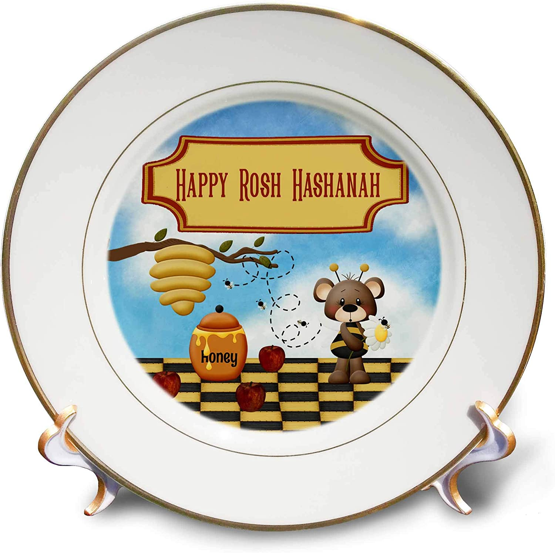 3dRose Beverly Turner Rosh Hashanah Design - Happy Rosh Hashanah, Bear, Bee Hive, Honey Jar, Bee Buzzing, Apples - 8 inch Porcelain Plate (cp_325223_1)
