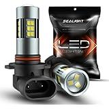 SEALIGHT 9006/HB4 LED Fog Light Bulbs, 6000K Xenon White, 27 SMD Chips, 360-degree Illumination, Non-polarity, Pack of 2