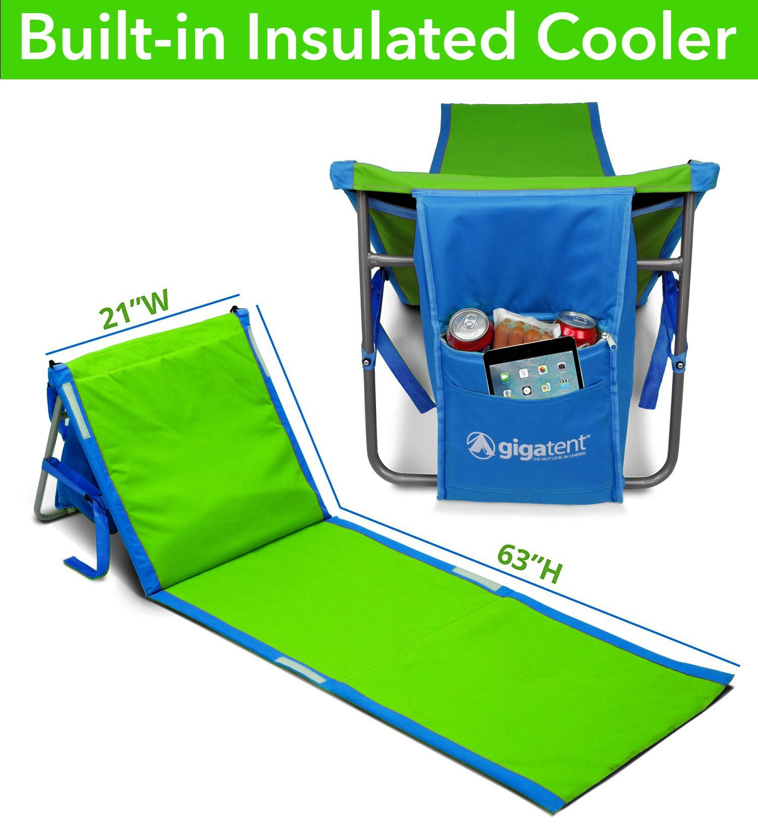 GigaTent Portable Beach Lounge Chair Mat with Insulated Cooler and Storage Pocket - Lightweight, Foldable, Comfortable Shoulder Carrying Strap
