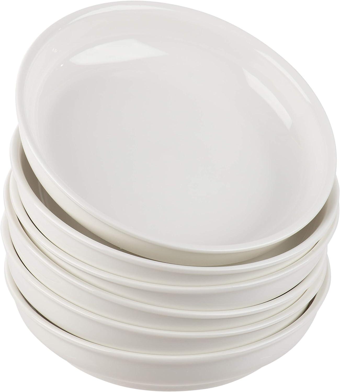 Porcelain Pasta Bowls Set - 6-Piece Wide Shallow 22-Ounce Serving Bowls for Pasta, Side Salad, Soup, Vegetable Serving, Home Kitchen, Restaurant Use, Plain White, 7.9 x 1.6 Inches
